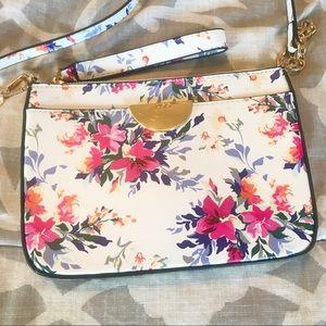 Aldo White & Gold Floral Clutch/Crossbody Bag